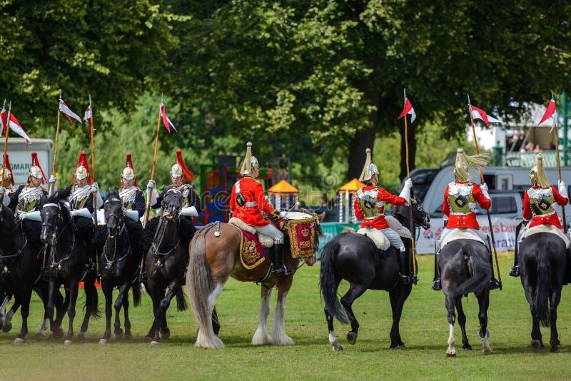 Brytyjska kawaleria Wspinający się gospodarstwo domowe pułk fotografia royalty free