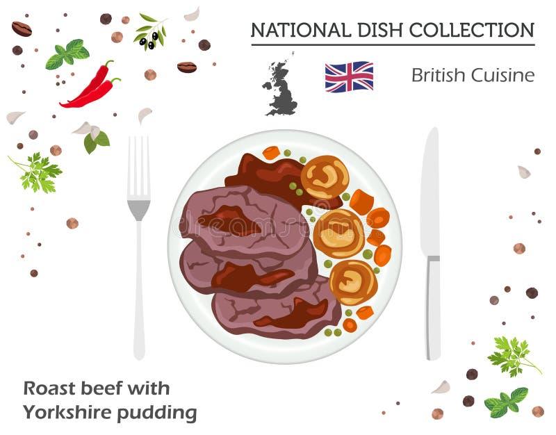 brytyjska kuchnia Europejska krajowa naczynie kolekcja Pieczona wołowina w royalty ilustracja