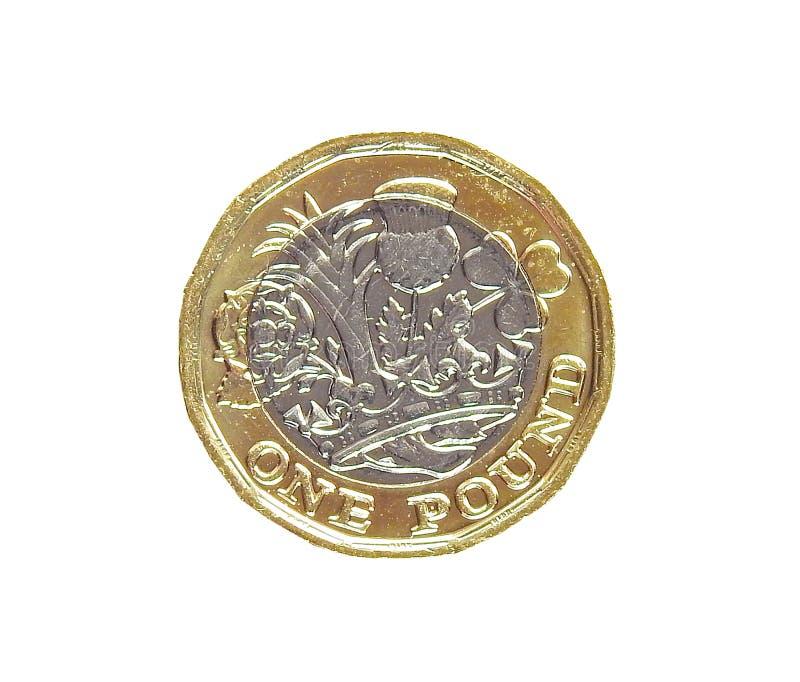Brytyjska nowy funtowej monety bimetalu królowa zdjęcia stock