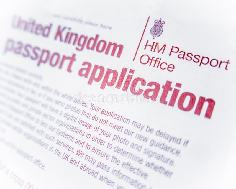 Brytyjska paszport forma obraz stock