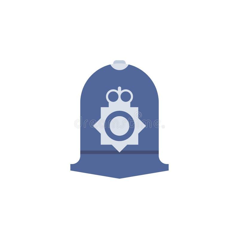 Brytyjska policjant nakrętka odizolowywająca Długi kapeluszowy Brytyjski funkcjonariusz policji ilustracji