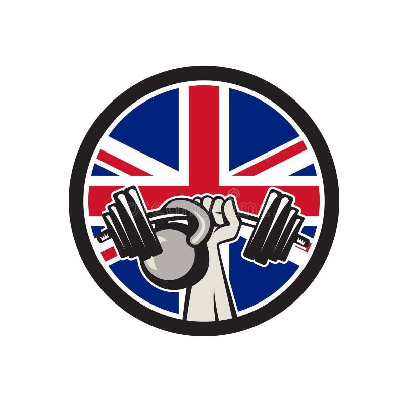 Brytyjska ręki dźwignięcia Barbell Kettlebell Union Jack flaga ikona ilustracji
