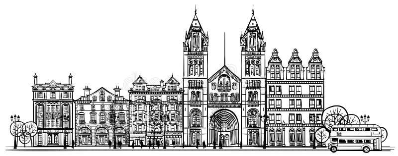 Brytyjska stara tradycyjna fasada Londyn ilustracja wektor