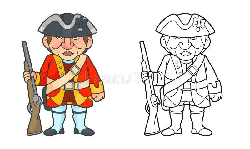 Brytyjski żołnierz z karabinową pozycją na poczta ilustracja wektor