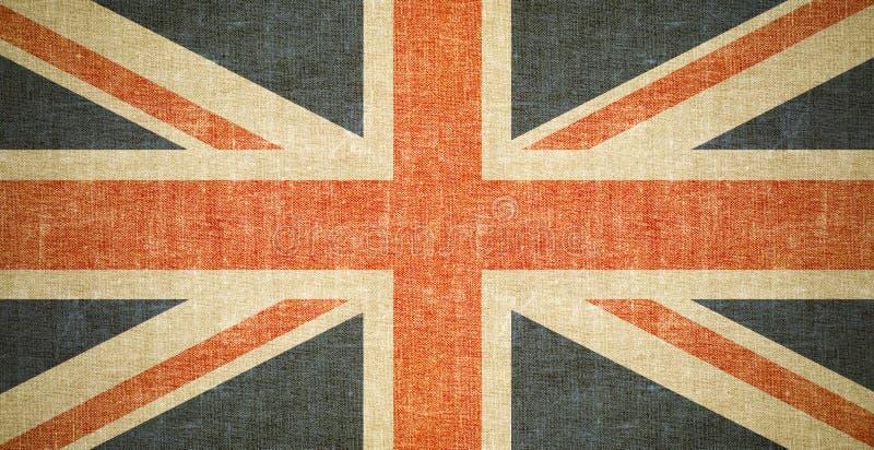 Brytyjski flaga tło na starej brezentowej teksturze obraz stock