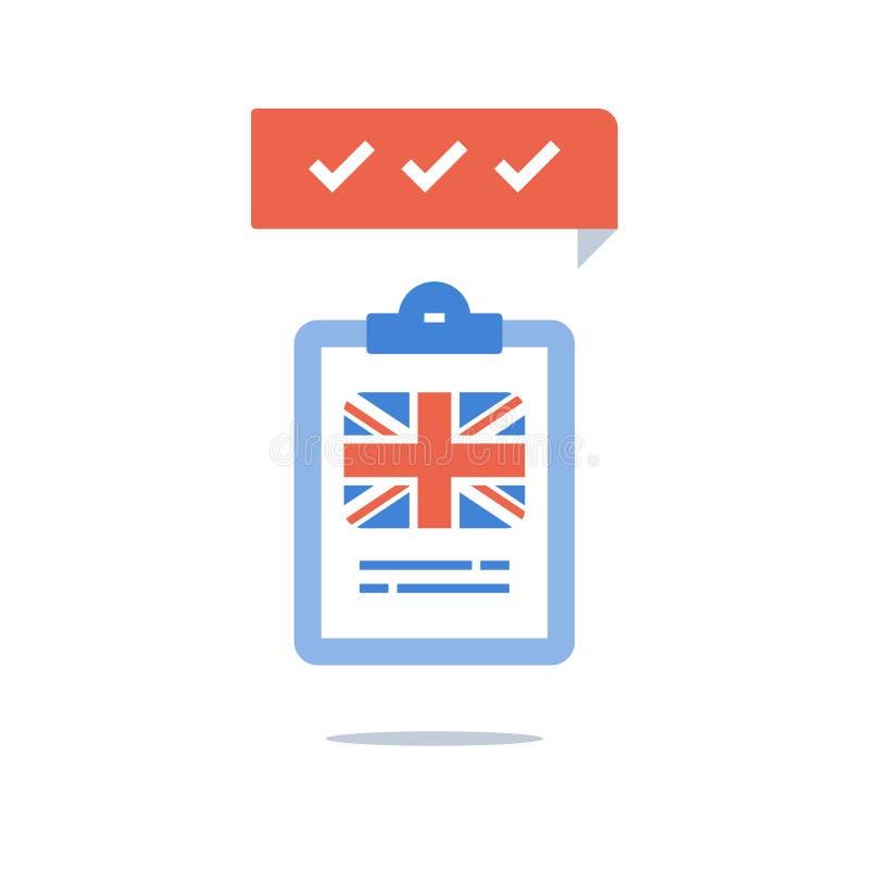 Brytyjski język angielski, program edukacyjny, szybki kurs treningowy, przepustka egzamin, próbny przygotowanie, językoznawcza kl ilustracji