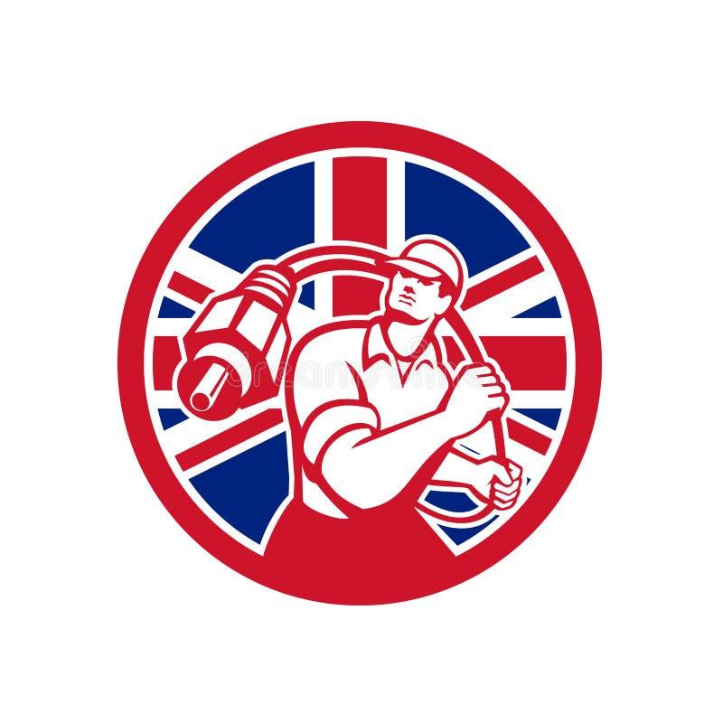 Brytyjski kabla Installer Union Jack flaga ikona royalty ilustracja
