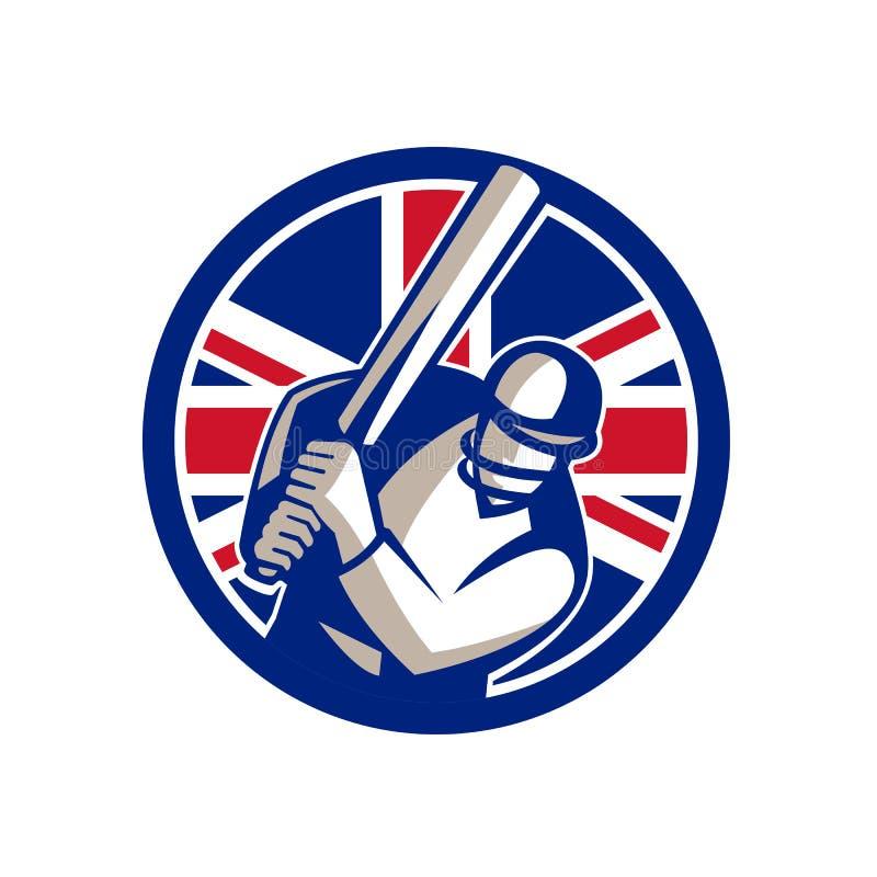 Brytyjski krykieta pałkarz Uderza Union Jack flaga ikonę ilustracji