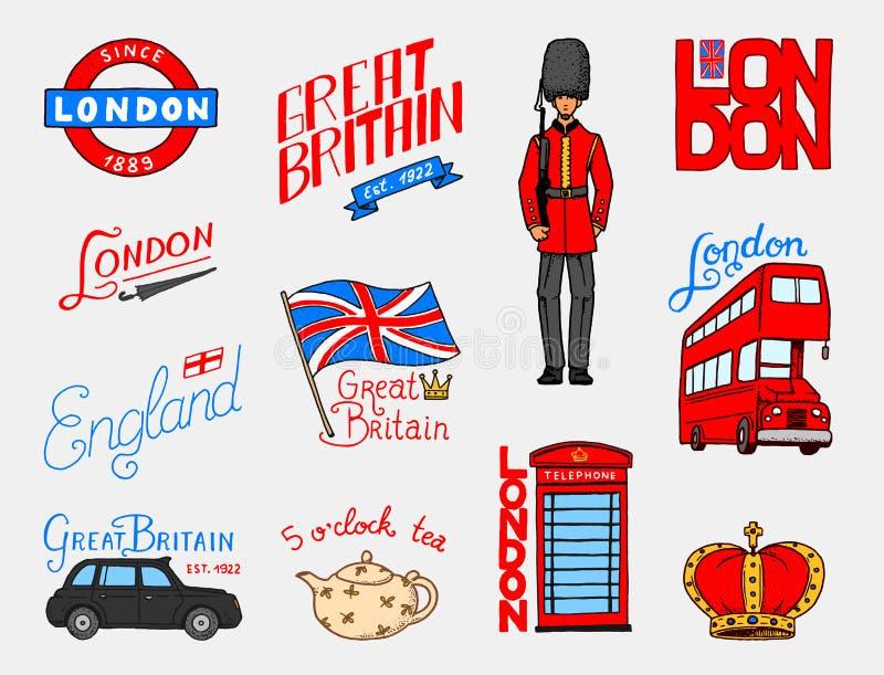 Brytyjski logo, korona, królowa, teapot z herbatą, strażnik, Londyn i dżentelmeny, autobusowy i królewski, symbole, odznaki lub z ilustracji