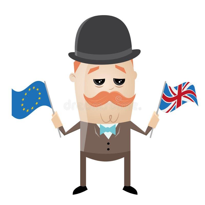 Brytyjski mężczyzna z eu chorągwianą i zrzeszeniową dźwigarką royalty ilustracja