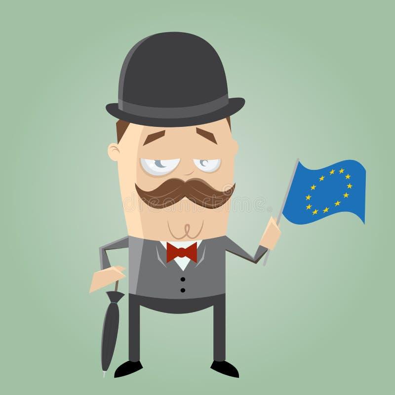 Brytyjski mężczyzna z europejczyk flaga royalty ilustracja