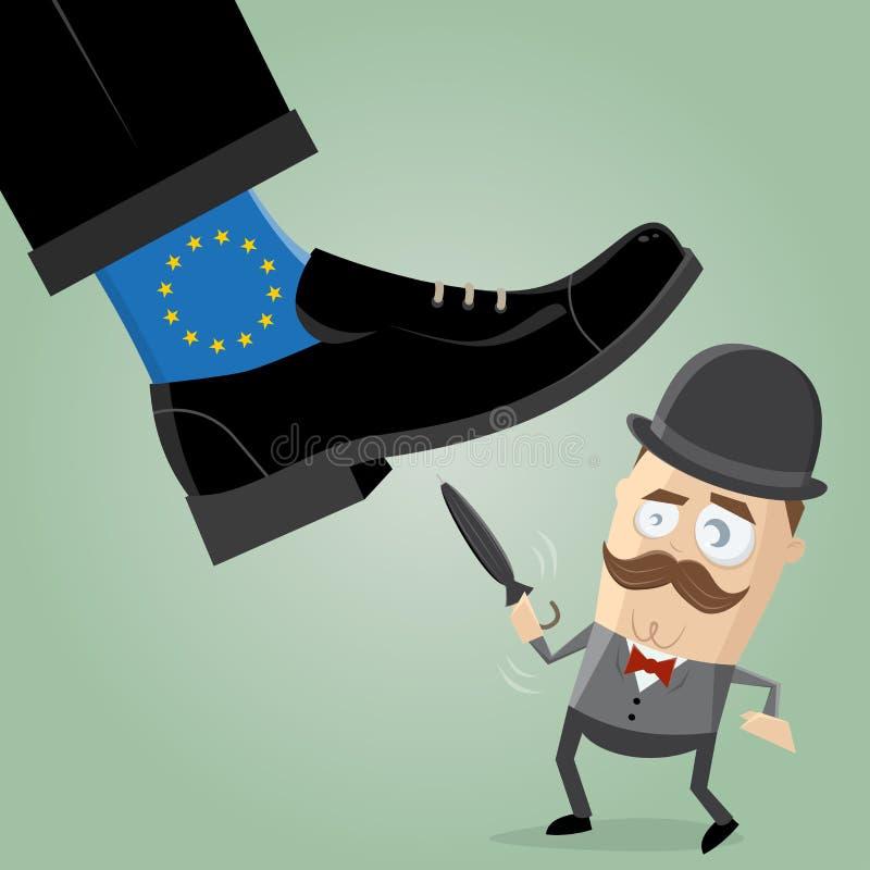 Brytyjski mężczyzny bój przeciw przemożnej eu brexit ilustracji ilustracji