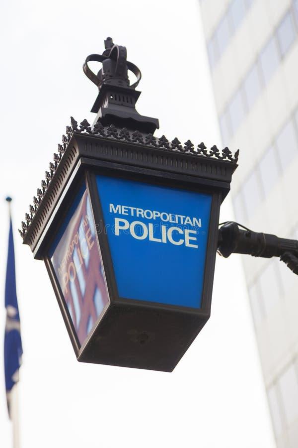 Brytyjski metropolita polici lampy znak obrazy stock