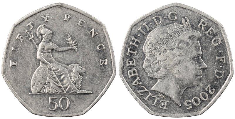 Brytyjski monety pięćdziesiąt pens fotografia stock