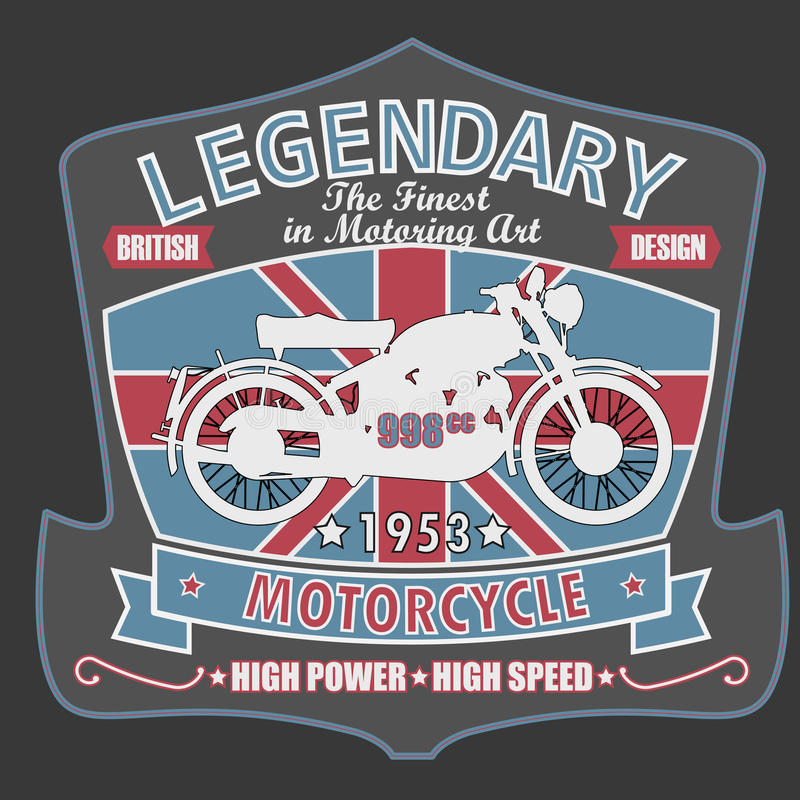 Brytyjski motocykl koszulki projekt, wektor royalty ilustracja