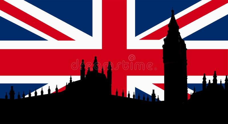 Brytyjski projekt z Big Ben flaga ilustracja wektor