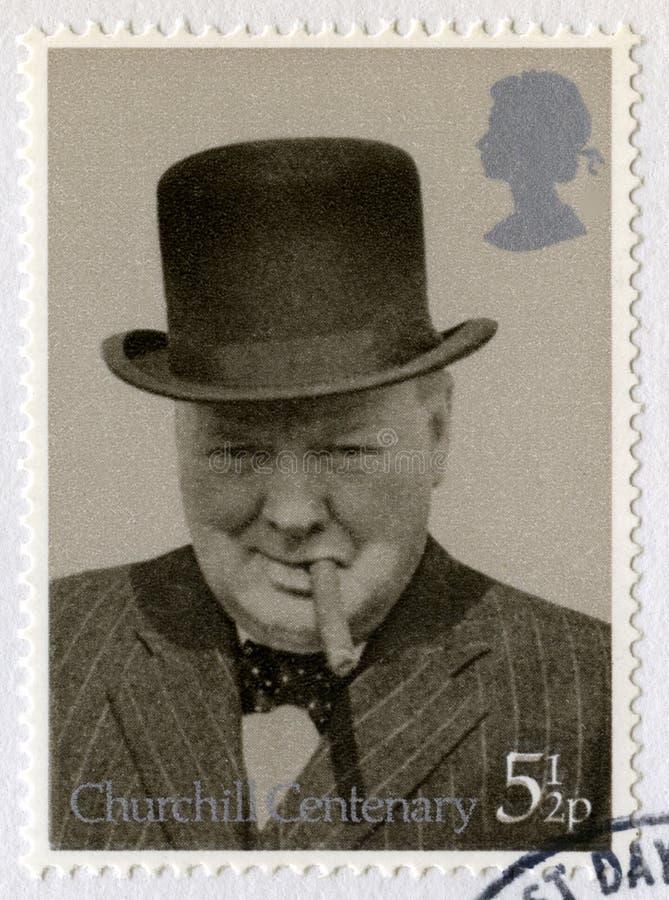 Brytyjski znaczek pocztowy Upamiętnia stulecie Churchill ` s obraz stock