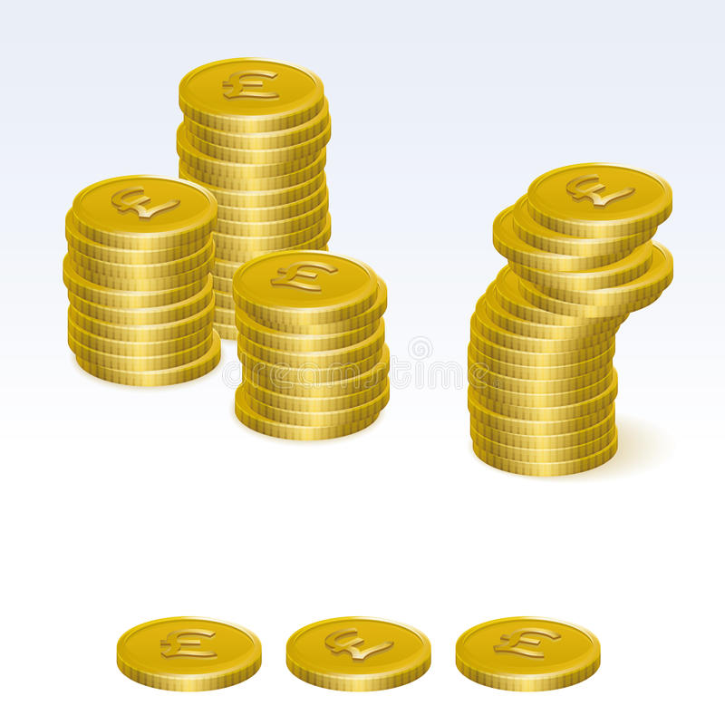 Brytyjskie Funtowego Sterling monety sterty wektoru ikony ilustracja wektor