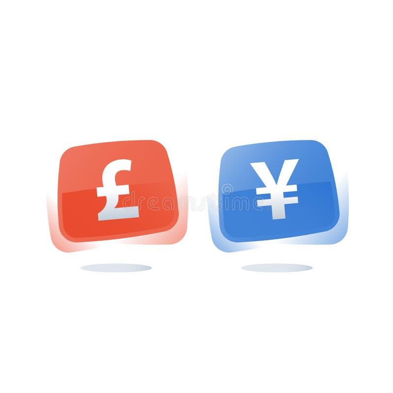 Brytyjskiego funta i Japońskiego jenu znak, pieniężny pojęcie, wymiana walut ilustracja wektor