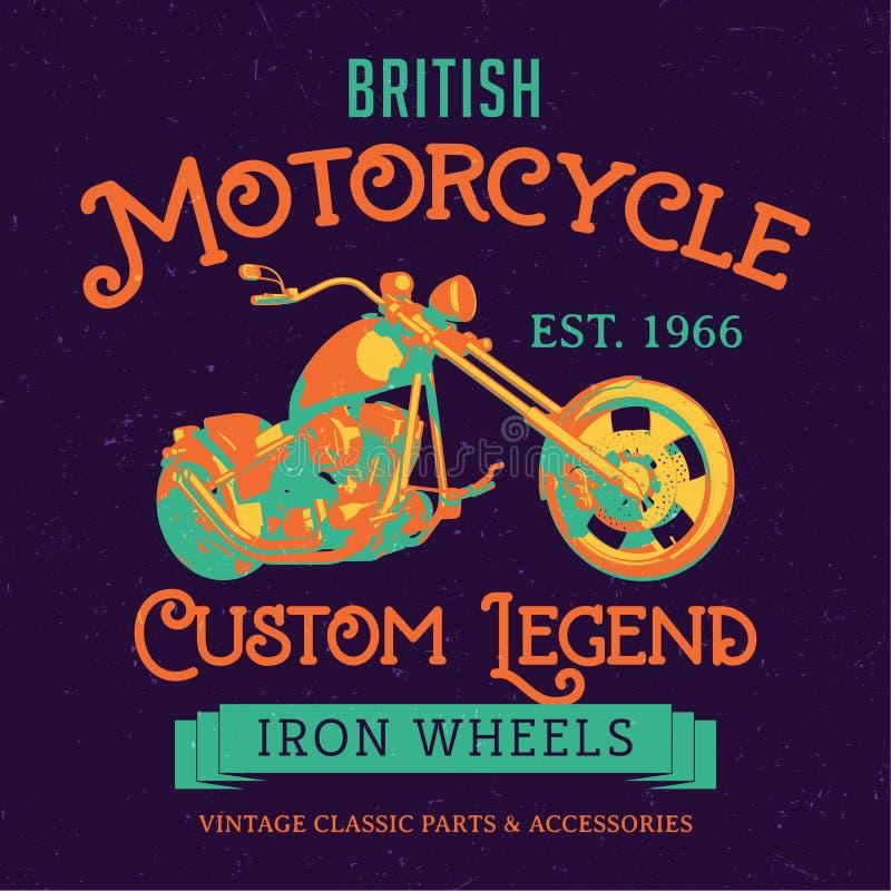 Brytyjskiego motocyklu legendy Obyczajowy plakat royalty ilustracja