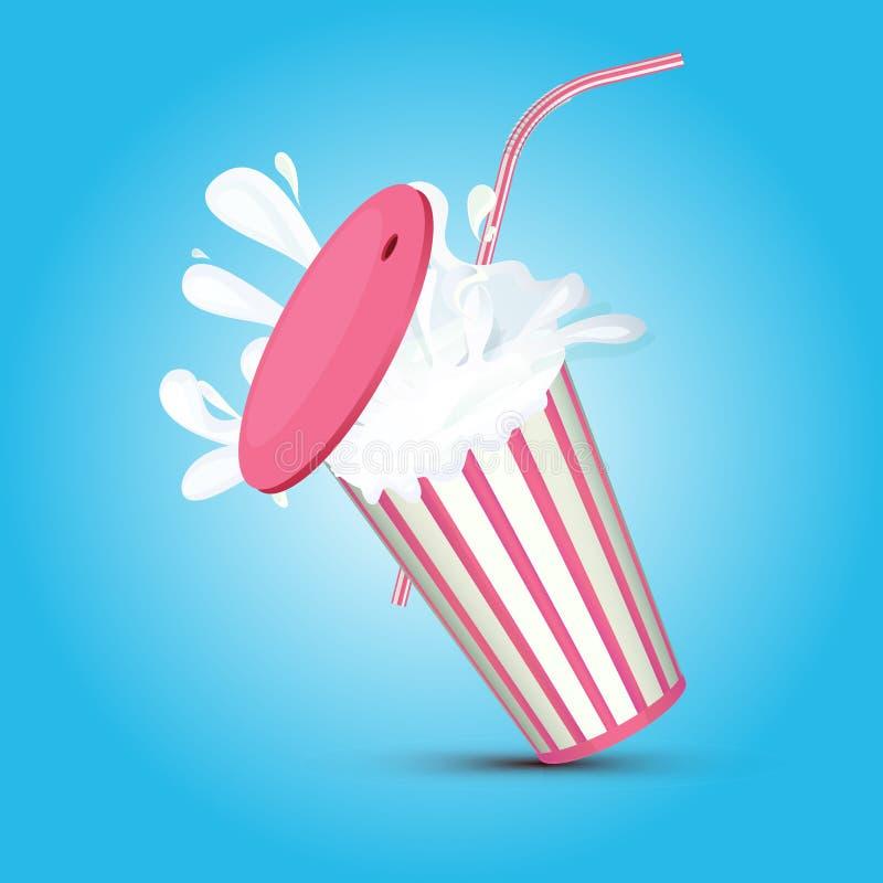 Bryzgać menchia obdzierającą milkshake papierową filiżankę z drymbą i pokrywą ilustracja wektor