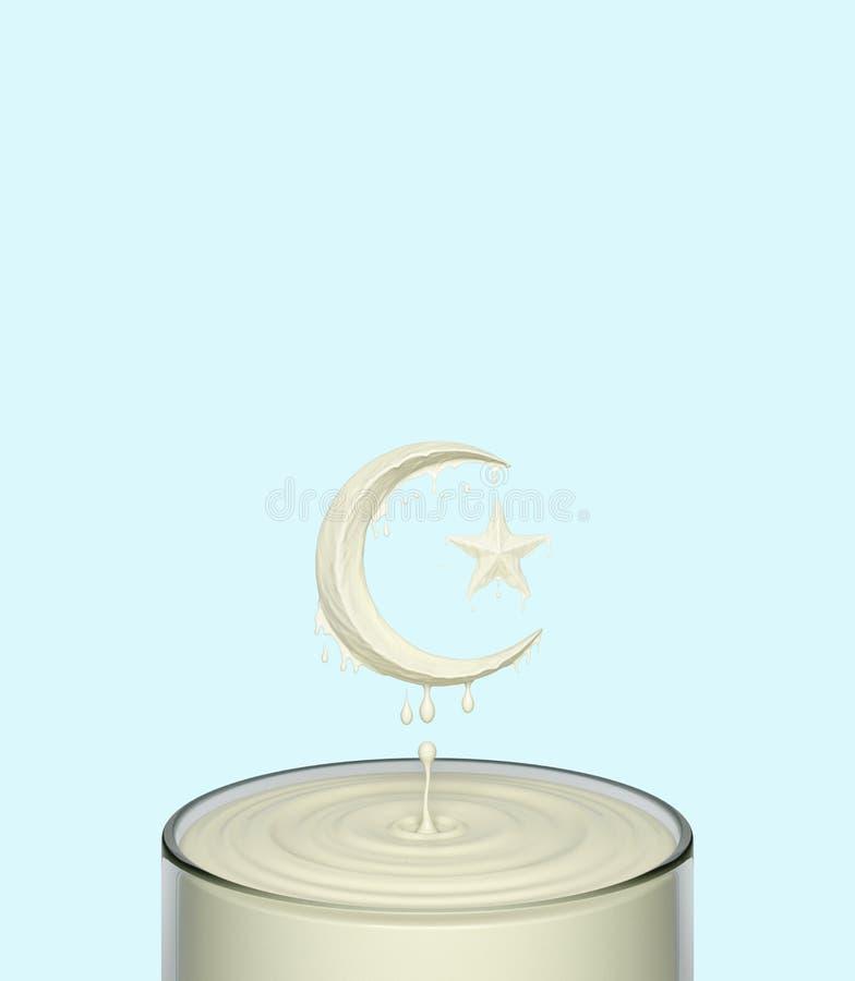 Bryzga czochrę ciekła bielu mleka jogurtu śmietanka w formie półksiężyc księżyc i gwiazda w szkle ilustracji