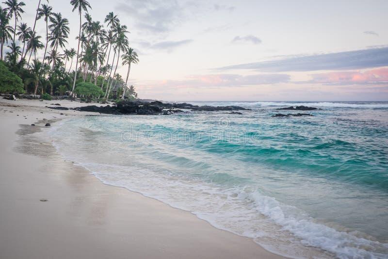 Brzask przy Lefaga Matautu plażą, Upolu wyspa, Samoa, południe Pac obrazy royalty free