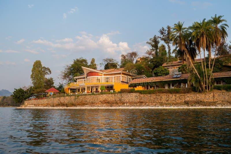 Brzeg jeziora dom, Jeziorny Kivu, Kibuye, Rwanda obraz royalty free