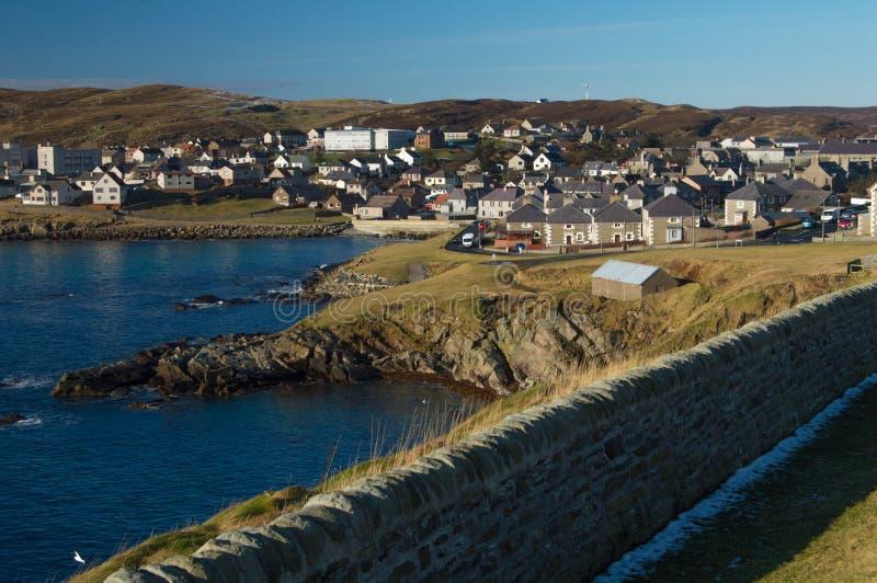 Brzeg Lerwick, kapitał Shetland wyspy zdjęcie stock