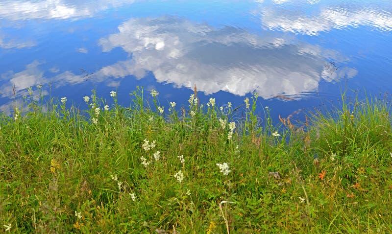 Brzeg malowniczy jezioro z odbiciem biel chmurnieje w Lapland zdjęcia royalty free