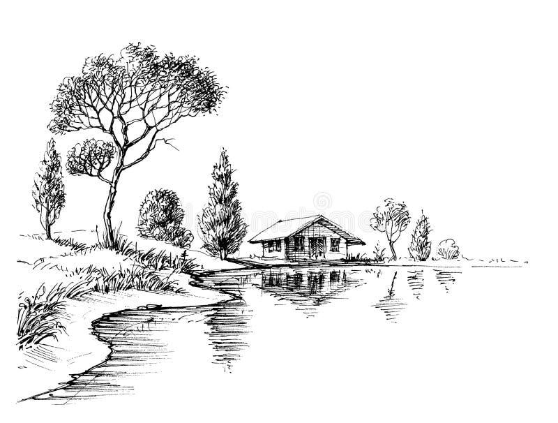 Brzeg rzeki panorama ilustracji