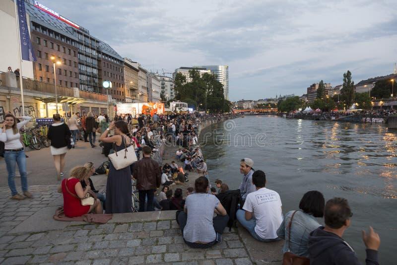 Brzeg rzeki w Wiedeń, Austria obrazy royalty free