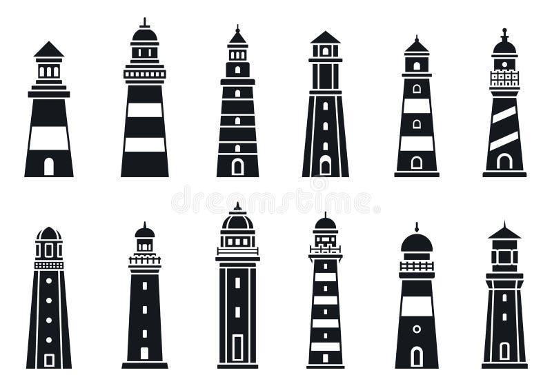 Brzegowy latarni morskiej ikony set, prosty styl ilustracji