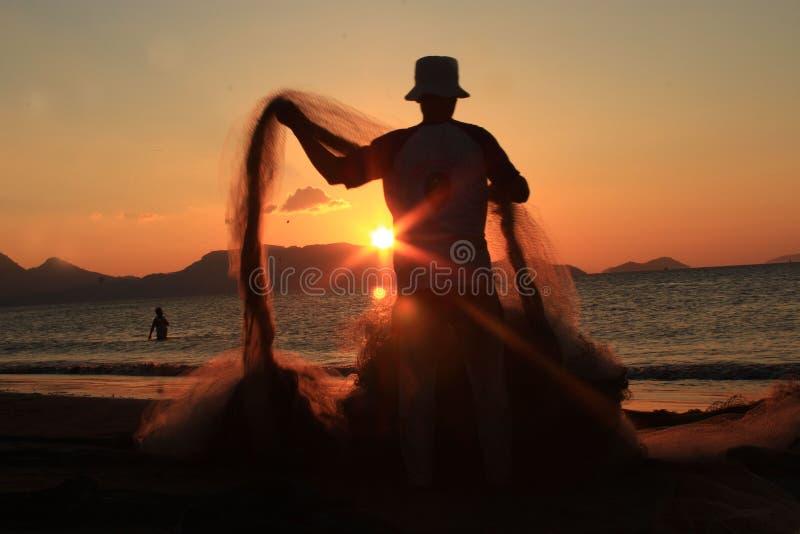 brzegowy wieczór rybaka jezioro fotografia royalty free