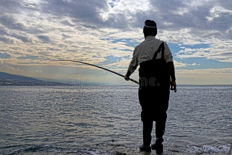 brzegowy wieczór rybaka jezioro fotografia stock
