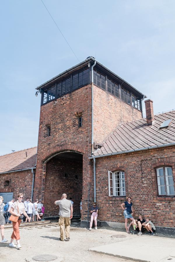 Railway gate to biggest Nazi German concentration camp Birkenau in Europe during World War II stock image