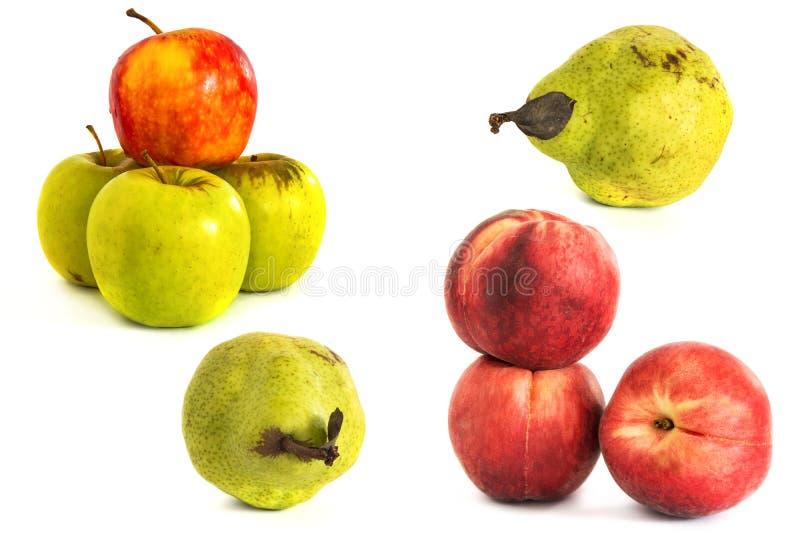 Brzoskwini bonkrety jabłko na białym vone isolate owoc odosobniony tło fotografia stock