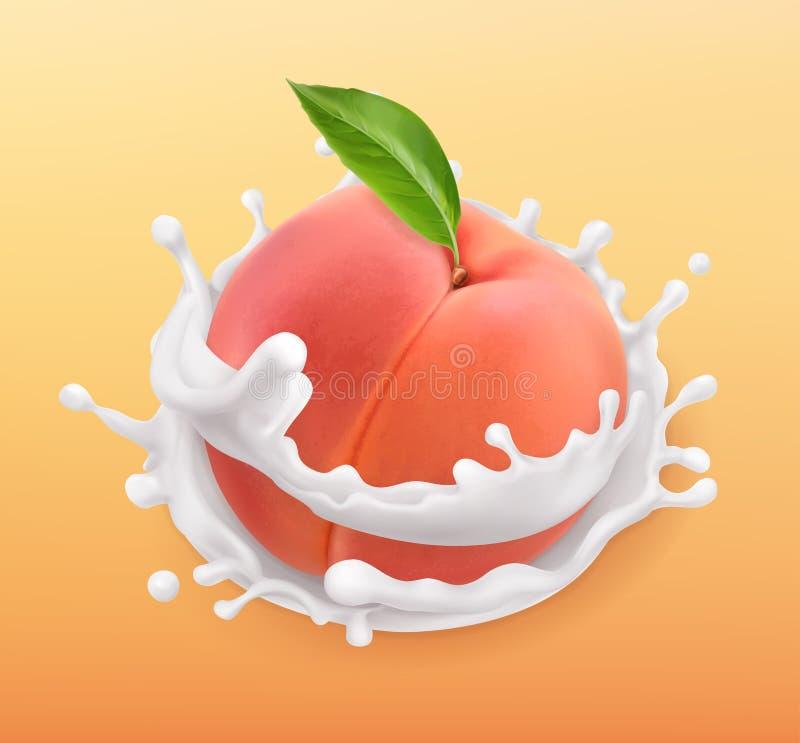Brzoskwini i mleka pluśnięcie Owoc i jogurt 3d ikona wektor ilustracji