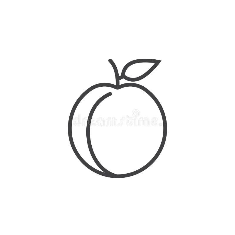 Brzoskwini kreskowa ikona, konturu wektoru znak, liniowy piktogram odizolowywający na bielu royalty ilustracja