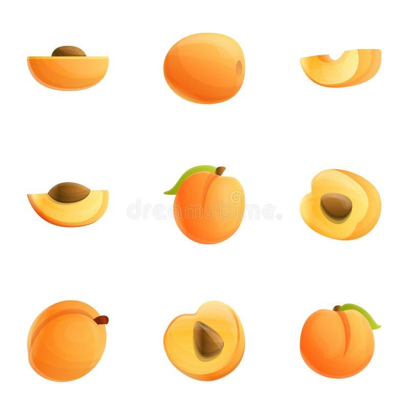Brzoskwinia soku ikony set, kreskówka styl ilustracja wektor