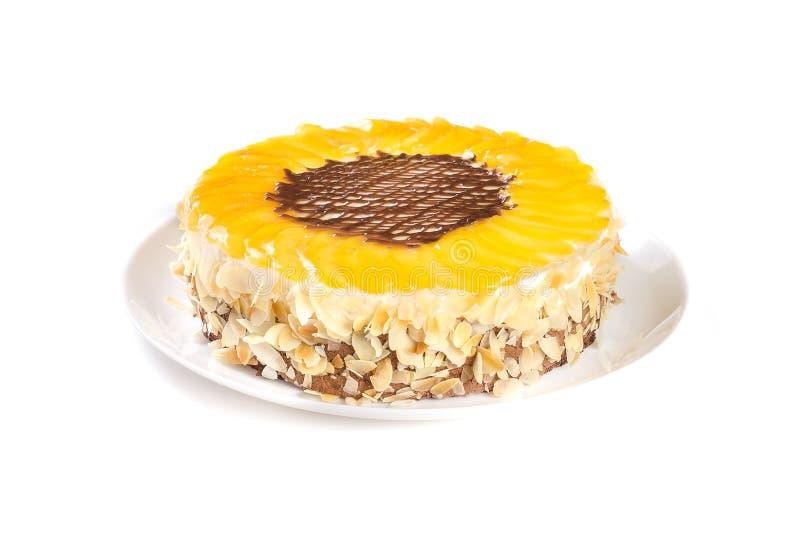 Brzoskwinia tort odizolowywający na białym tle obraz stock