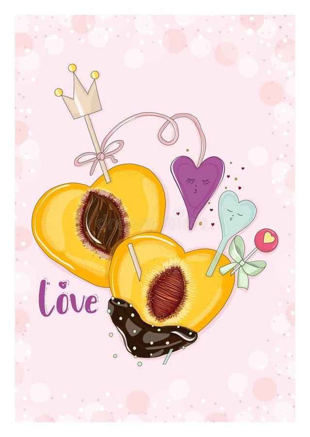 Brzoskwinia w czekoladzie z twarzy sercami w miłości zdjęcie royalty free