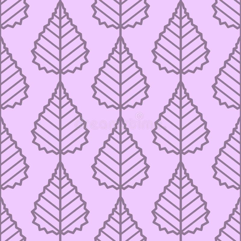 Brzoza opuszcza bezszwowego wektoru wzór Rocznika styl i kolory (purpury) royalty ilustracja