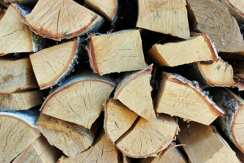 Brzozy drewno dla ogienia fotografia stock