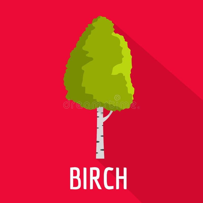 Brzozy drzewa ikona, mieszkanie styl ilustracja wektor