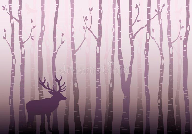 Brzozy drzewa las, wektor ilustracja wektor