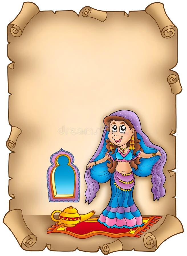 brzucha tancerza stary pergamin ilustracji