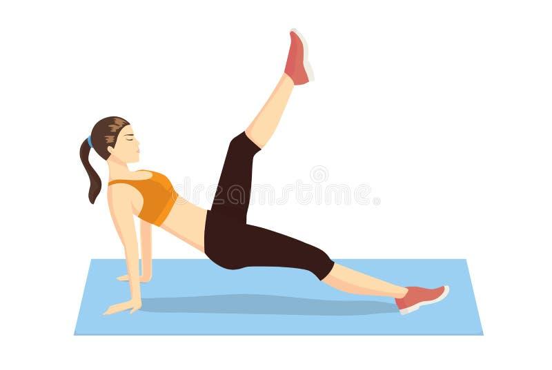Brzuszni ćwiczenia z Pilates nogi ciągnienia przodem ilustracja wektor