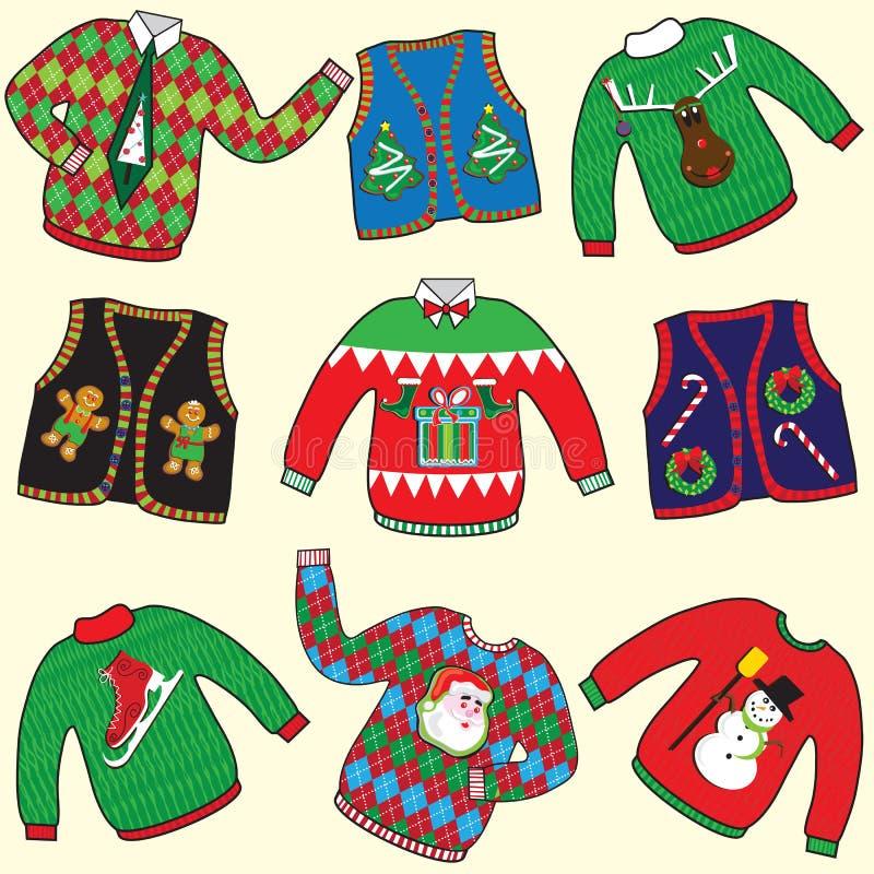 brzydcy Boże Narodzenie pulowery royalty ilustracja