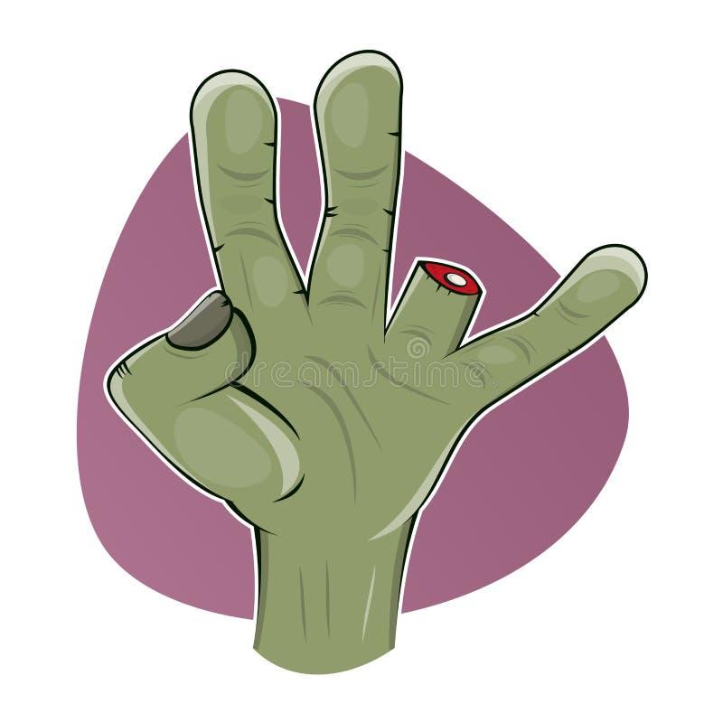 Brzydka żywy trup ręka z chybianie palcem ilustracja wektor